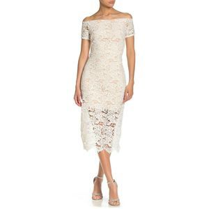 MARINA L Ivory Off-the-Shoulder Lace Midi Dress